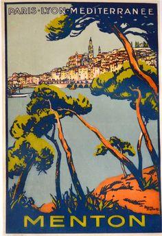 Menton, Côte d'Azur, Travel poster