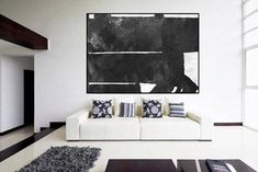 large canvas art original Abstract painting black and white Acrylic painting, extra large wall art,