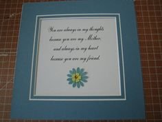 Framed quote for Mom  9x9  You are always in my by FiveSistersshop, $18.00