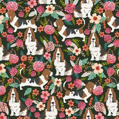 Basset Hound Fabric Basset Hound Vintage Style Floral Dog