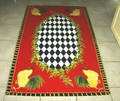French Country Rooster FLOORCLOTH / Red / Black And White Checked / Floral  / Kitchen Rug / 3u0027x5u0027