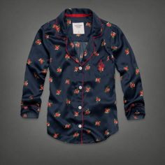 Caily Satin Sleep Shirt, navy floral