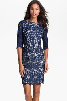 Eliza J Embroidered Lace Overlay Sheath Dress (Regular & Petite) $ 106.80