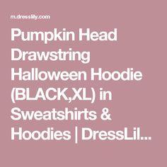 Pumpkin Head Drawstring Halloween Hoodie (BLACK,XL) in Sweatshirts & Hoodies | DressLily.com