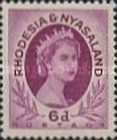Rhodesia and Nyasaland, 1.7.1954, Queen Elizabeth II., No.8, 6P reddish violet. Mint condition 1,65 USD. Stamped 0,11 USD.
