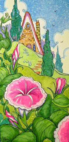 A Morning Full of Glory Storybook Cottage whimsical Watercolor Flower painting