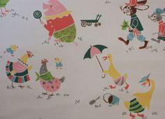 1950's Vintage Wallpaper Cute Farm Animals Hen Duck Rabbit and Pig | eBay