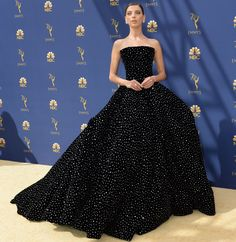 Angela Sarafyan wore a Christian Siriano Fall 2018 embellished ball gown to the 2018 Emmy Awards (I) Christian Siriano, Angela Sarafyan, Nice Dresses, Formal Dresses, Kpop Outfits, Indian Bridal, Bridal Dresses, Strapless Dress Formal, Ball Gowns