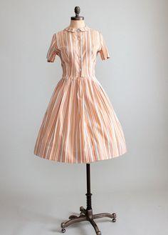 Vintage 1960s Tan Striped Shirtwaist Dress