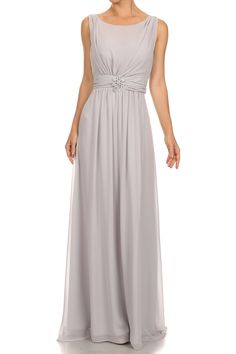 Evening Long Dress DR1514 Solid Color, Full Length Dress has Boat Neckline, Sleeveless, V Open Back with Zipper Closure, Ruched Bust and Shoulders, Jewel Embellished Brooch on Waistline, Layered Long Skirt. Comes with Scarf. https://www.smcfashion.com/wholesale-evening-dresses/evening-long-dress-dr1514