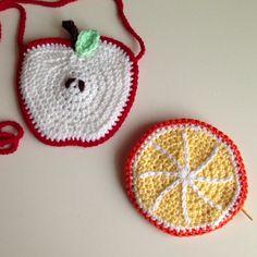 Apple crochet bag and orange coin purse