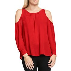 Vince Camuto Shirred Cold Shoulder Blouse - 100% Bloomingdale's... (10300 DZD) ❤ liked on Polyvore featuring tops, blouses, fire glow, cutout blouse, vince camuto tops, red blouse, open shoulder top and open shoulder blouse