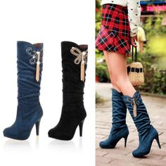 Women's Boots, Mid Calf Kitten High Heels, Fashion New Buckle Design Plus Size