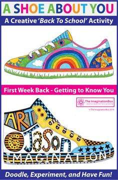 All About Me Activities - This 'All About You Shoe' doodle art activity is an easy back to school activity for the classr - All About Me Activities, Back To School Activities, Art Activities, Back To School Art, Beginning Of School, Art Education Resources, Writing Resources, Teacher Resources, 5th Grade Art
