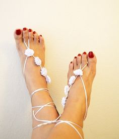 White flower Beach wedding barefoot sandals Toe by ArtofAccessory, $34.00