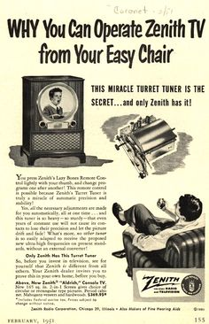 Imagine that! From your barc-a-lounger!  Vintage Zenith Ad - 1951