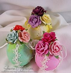 Decorated Easter Eggs using ribbon, trim and roses from The Stamp Simply Ribbon Store.