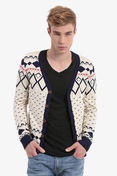 Beige Patterned Men's Button Up Cardigan
