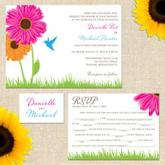 Humming Bird Flower Invitation