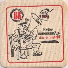 Vorderseite: Bierdeckel-Europa-Mitteleuropa-Deutschland-Bayern-Hof-Bürgerbäu-Musikant