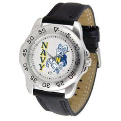 """Navy Midshipmen NCAA """"Sport"""" Mens Watch (Leather Band) by SunTime. $42.30. Scratch Resistant Face. Rotation Bezel/Timer. Calendar Date Function. This handsome, eye-catching watch comes with a genuine leather strap. A date calendar function plus a rotating bezel/timer circles the scratch-resistant crystal. Sport the bold, colorful, high quality logo with pride.. Save 10% Off!"""
