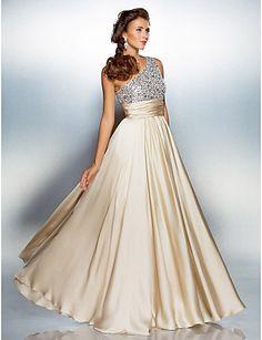 Prom/Military Ball/Formal Evening Dress - Sheath/Column One Shoulder Floor-length Satin Chiffon – USD $ 89.99