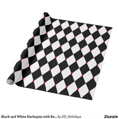 Black and White Harlequin with Red Accents Wrapping Paper - Sold at DP_Holidays on Zazzle.