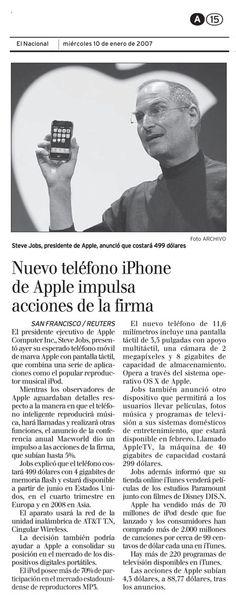Steve Jobs muestra el primer iPhone al mundo. Publicado el 09 de enero de 2007.