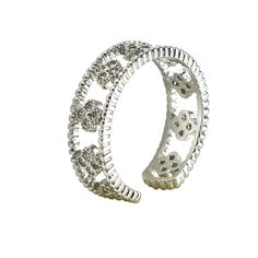 Adjustable CZ clover band ring. Item #: r2771