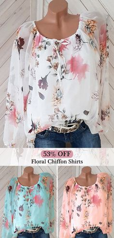 ZHI Chiffon Floral Print Off Shoulder Sleeve Shirt look not only special, but also they always show ladies' glamour perfectly and bring surprise. Come to NewChic to choose the best one for yourself! Dress Outfits, Cool Outfits, Fashion Outfits, Fashion 101, Autumn Fashion 2018, Chiffon Shirt, Floral Chiffon, Modest Dresses, Comfortable Outfits
