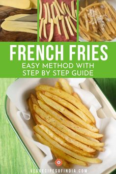 French Fries Recipe with step by step photos. These homemade french fries are crisp as well as soft from inside and taste too good. Crispy French Fries, French Fries Recipe, Homemade French Fries, Easy Homemade Snacks, Navratri Recipes, Making French Fries, Cooking Recipes, Skillet Recipes, Pizza Recipes