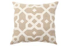 Natalie 18x18 Pillow, Oatmeal :: OneKingsLane.com