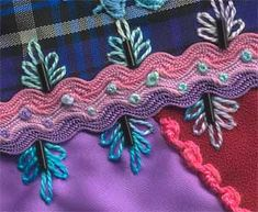 100 details for 100 days Day 63 --- Sharon B's - Pintangle Crazy Quilt Stitches, Crazy Quilt Blocks, Basic Embroidery Stitches, Silk Ribbon Embroidery, Embroidery Patterns, Quilt Patterns, Crazy Quilting, Quilting Ideas, Rick Rack Crafts