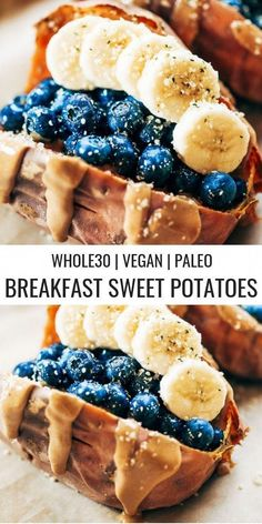 Paleo Breakfast Stuffed Sweet Potatoes Baked sweet potatoes stuffed with blueberries, bananas, and cashew butter make a tasty vegan breakfast! You can make them ahead of time for meal prep. This easy paleo breakfast makes a great snack anytime of day! Whole 30 Breakfast, Sweet Potato Breakfast, Breakfast Potatoes, Breakfast Ideas, Whole 30 Dessert, Breakfast Bars, Brunch Ideas, Breakfast Casserole, Healthy Breakfast Recipes