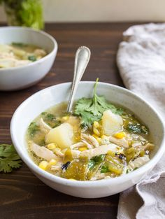 Green Chile Chicken Stew for Two. Use fresh roasted Hatch green chiles to make this incredible chicken stew with potatoes and corn. #hatchgreenchile #hatchchiles #greenchilechickenstew #chickenstew #chicken #chickensoup #newmexico #hatchgreenchilerecipes #hatchgreenchiles Green Chili Chicken Stew, Chicken Stew With Potatoes, Green Chile Stew, Green Chilis, Green Chili Recipes, Mexican Food Recipes, Soup Recipes, Cooking Recipes, Keto Recipes