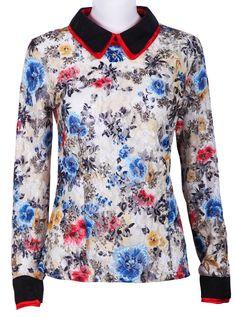 Blue Lapel Long Sleeve Floral Lace Blouse - Sheinside.com