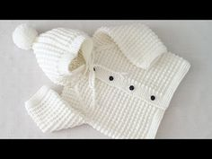 Hi friends, I want to tell you a very nice model, you will love this baby cardigan. Baby Knitting Patterns, Knitting Designs, Baby Patterns, Knitted Baby Cardigan, Crochet Jacket, Knitted Hats, Crochet Baby Clothes, Baby Vest, Baby Sweaters