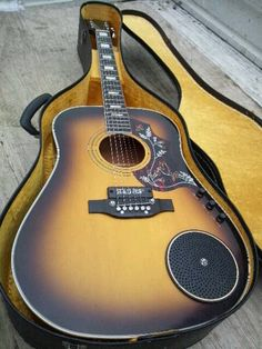 "Elfolk Acoustic Guitar with far out ""solo amp"" bridge pickup."