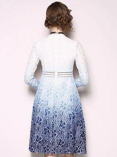 Gradient V-Neck Long Sleeve Lace A-Line Dress