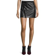 Zadig & Voltaire Jay Cuir Deluxe Zip Mini Skirt ($305) ❤ liked on Polyvore featuring skirts, mini skirts, noir, zadig & voltaire, zip skirt, mid thigh skirt, short mini skirts and zipper mini skirt
