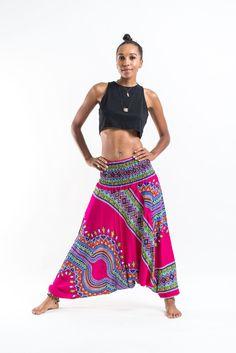 Dashiki Prints Jumpsuit Harem Pants in Pink
