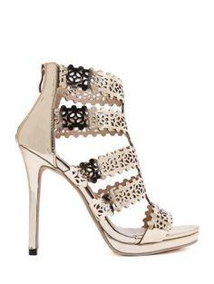 5fd9115306b5 Postal Ahueca Hacia Fuera Las Sandalias Del Tacón De Aguja - Dorado  Designer Heels