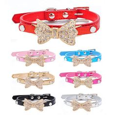 Cool Dog Collars Small Dogs Bling Crystal Bow Leather Pet Collar Puppy Choker Cat Necklace dog harness leash dog cat Accessories