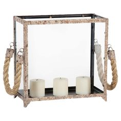 A lovely addition to your entryway console or living room mantel, this metal-framed candleholder features glass paneling and rope handles. ...