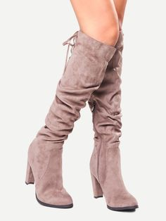 Brown Faux Suede Tie Back Knee Zipper Boots