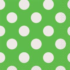 Lime Green Dots - Beverage Napkins - 16 count