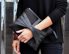 Linen Leather Web Detail Cross Body Bag / Clutch in Black Linen & Black Leather iPad Size handmade in Finland USD) by SalmiakStudio Leather Bags Handmade, Handmade Bags, Leather Laptop Bag, Leather Purses, Accessorize Handbags, Clutch Bag, Crossbody Bag, Wooden Bag, Leather