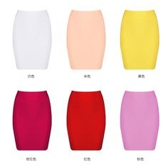 Black N Yellow, Red Green, Violet Rouge, Rose Violette, Bandage Skirt, Cheap Skirts, Herve Leger, White Skirts, Pink Purple