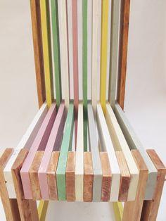 chaise bois Récupérée à la main par commande couleur finition