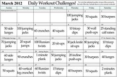 Daily workout challenge (can be for any month)